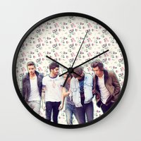 1d Wall Clocks featuring Floral 1D by Valerie Hoffmann