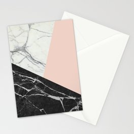 Black and White Marble with Pantone Pale Dogwood Stationery Cards