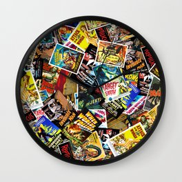 50s Movie Poster Collage #14 Wall Clock