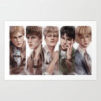 snk Art Prints featuring SnK Boys by putemphasis