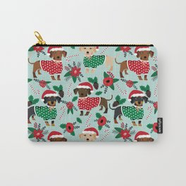 Dachshund christmas sweater poinsettia cute holiday gifts doxie dachsie dog breed Carry-All Pouch
