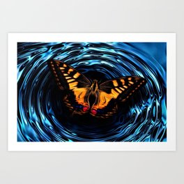 Ripples, Nature Still Life Metamorphosis with Monarch Butterfly Art Print