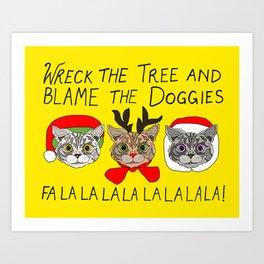 Holiday Cat Brats Art Print