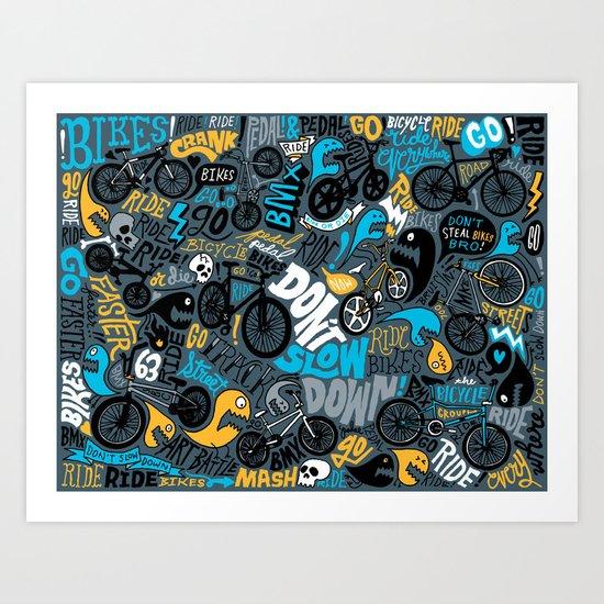 Bikes pattern Art Print