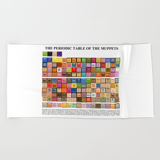 The Periodic Table of the Muppets Beach Towel