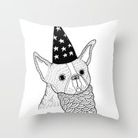 wizard Throw Pillows featuring Dog Wizard by Michael C. Hsiung