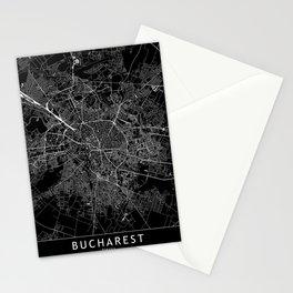 Bucharest Black Map Stationery Cards