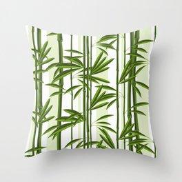 Green bamboo tree shoots pattern Throw Pillow