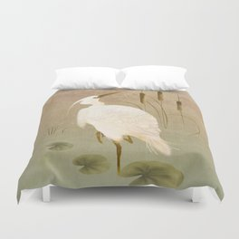 White Heron in Bulrushes Duvet Cover
