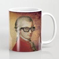 mozart Mugs featuring Funny Hipster Mozart by Paul Stickland for StrangeStore