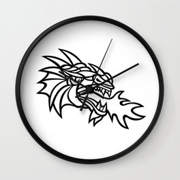 Mythical Dragon Breathing Fire Mascot Wall Clock
