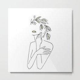 Line Art Minimal Woman With Flower Wreath  Metal Print
