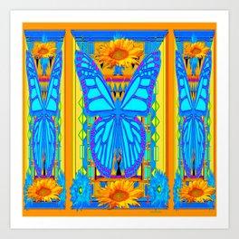 Blue Butterflies Gold Floral Deco Art Art Print
