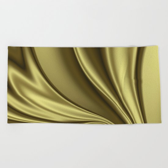 Abstract Fractal Colorways 02 Simple Gold Beach Towel