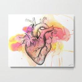 Watercolor Berry Heart Metal Print