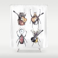 drums Shower Curtains featuring Meet the Beetles (white option) by Eric Fan
