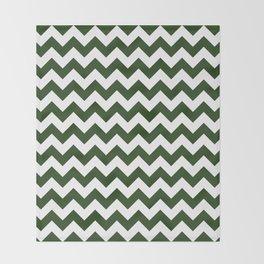 Large Dark Forest Green and White Chevron Stripe Pattern Throw Blanket