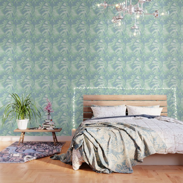 Tropical Leaves Luxe Pastel Sea Turquoise Blue Green Wallpaper