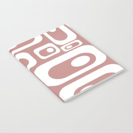 Atomic Age Pod Pattern in White and 50s Pink. Minimalist Monochrome Notebook
