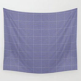 Midnight Blue Gingham Wall Tapestry