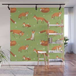 Red Foxes Wall Mural