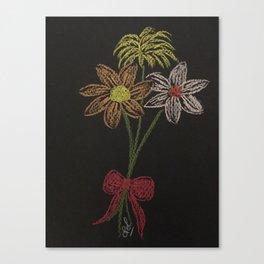 Flowers on blackpaper Canvas Print