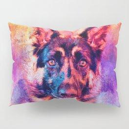 Jazzy German Shepherd Colorful Dog Art by Jai Johnson Pillow Sham