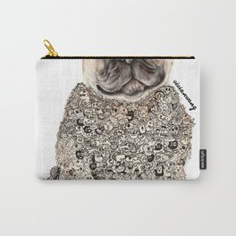 Pug Zentangle Doodle Black and White Pen Realistic Drawing Carry-All Pouch