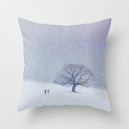 A walk in the snow. Throw Pillow