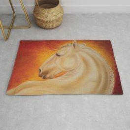 Fire Lusitano Horse oil Painting Rug
