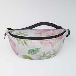 Summer blush pink raven green watercolor floral Fanny Pack