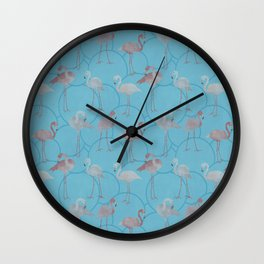 Walk with pink flamingos on bright blue Wall Clock