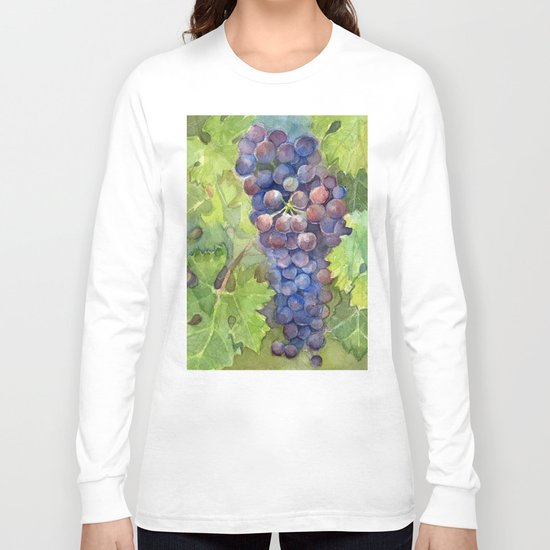 Grapes Watercolor Fruit Food Wine Lovers Long Sleeve T-shirt