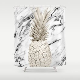 Pineapple Marble White Gold Painted Pineapple on Black and White Marble Shower Curtain