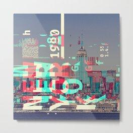 GLITCH CITY #5: New York Metal Print