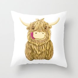 Wee Hamish Highland Cow Throw Pillow