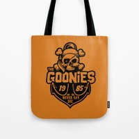 goonies Tote Bags featuring The Goonies black by Buby87