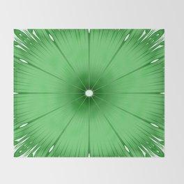 Green Flower Throw Blanket