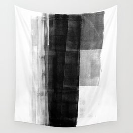 Monolith - Black and White Minimalist Abstract Monotype Wall Tapestry