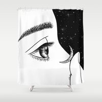 contact Shower Curtains featuring Contact by Henn Kim