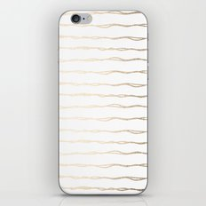 Simply Wavy Lines in White Gold Sands on White iPhone & iPod Skin