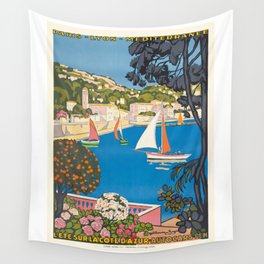 1926 FRANCE Summer On The Cote D'Azur Travel Poster Wall Tapestry