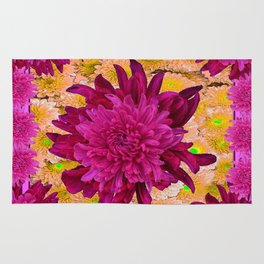 Stylized  Burgundy Purple & Yellow Chrysanthemums Floral Garden Rug