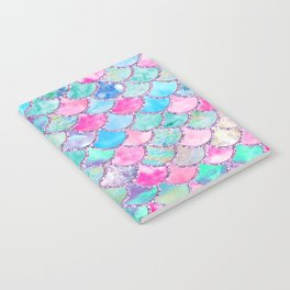 Colorful Pink and Blue Watercolor Trendy Glitter Mermaid Scales  Notebook