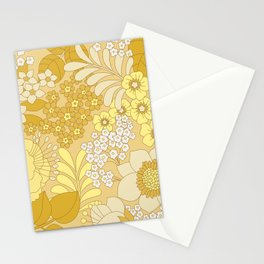 Yellow, Ivory & Brown Retro Floral Pattern Stationery Cards