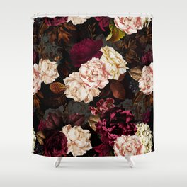 Vintage & Shabby Chic - Midnight Rose and Peony Garden Shower Curtain