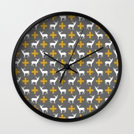 Deer Plus - silhouette and swiss cross plus sign hipster trendy print Wall Clock