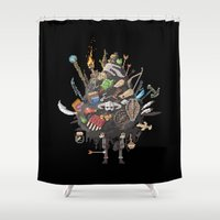 skyrim Shower Curtains featuring Let me guess, someone stole your sweetroll by Fightstacy