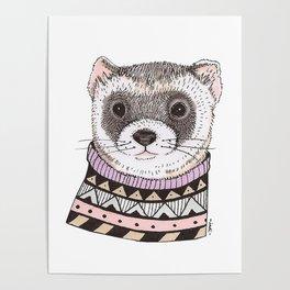 Hipster Ferret Poster