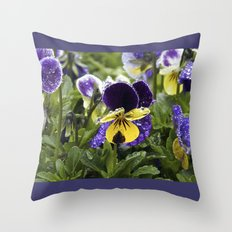 Violets on a rainy morning Throw Pillow